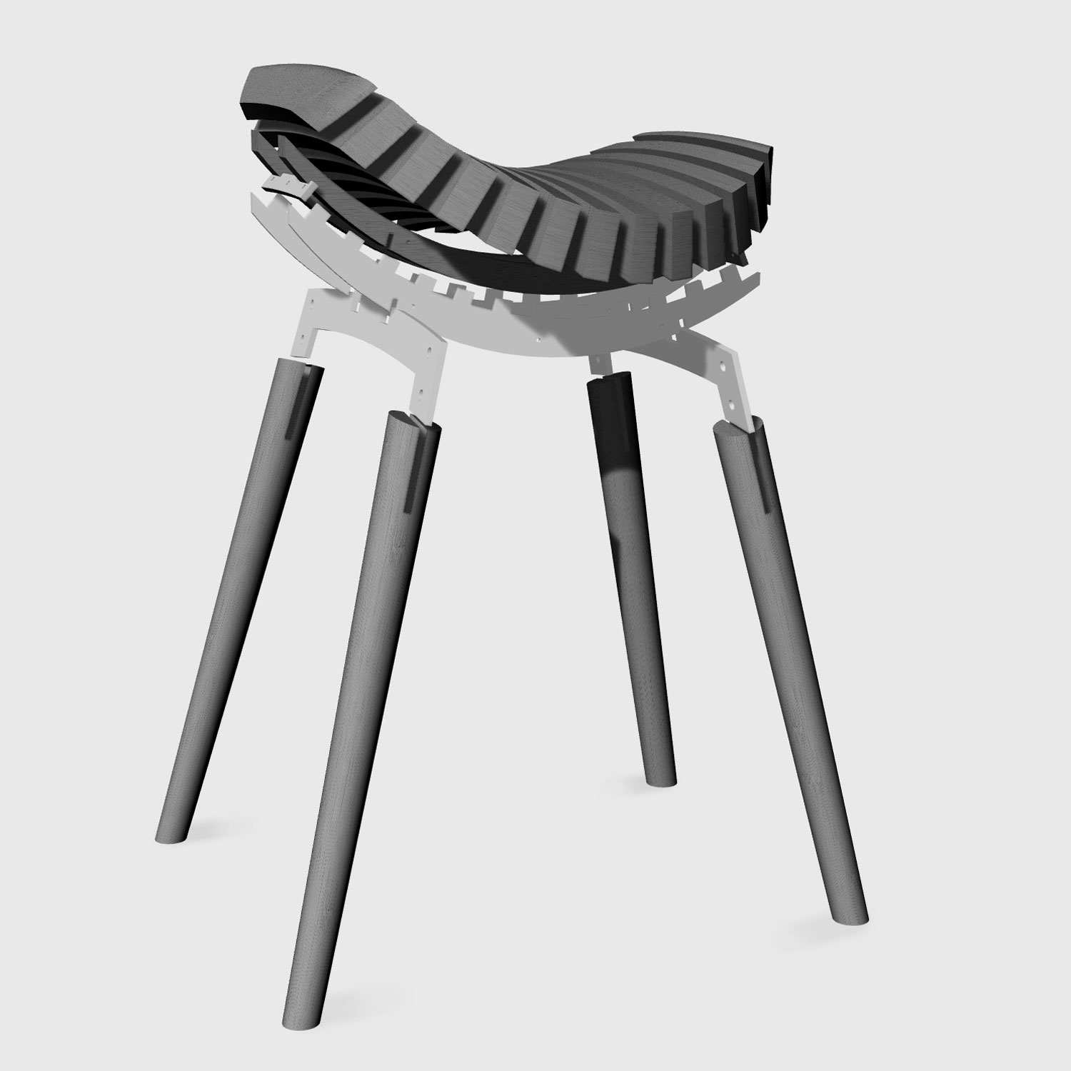 Ane stool exploded 3D rhino image