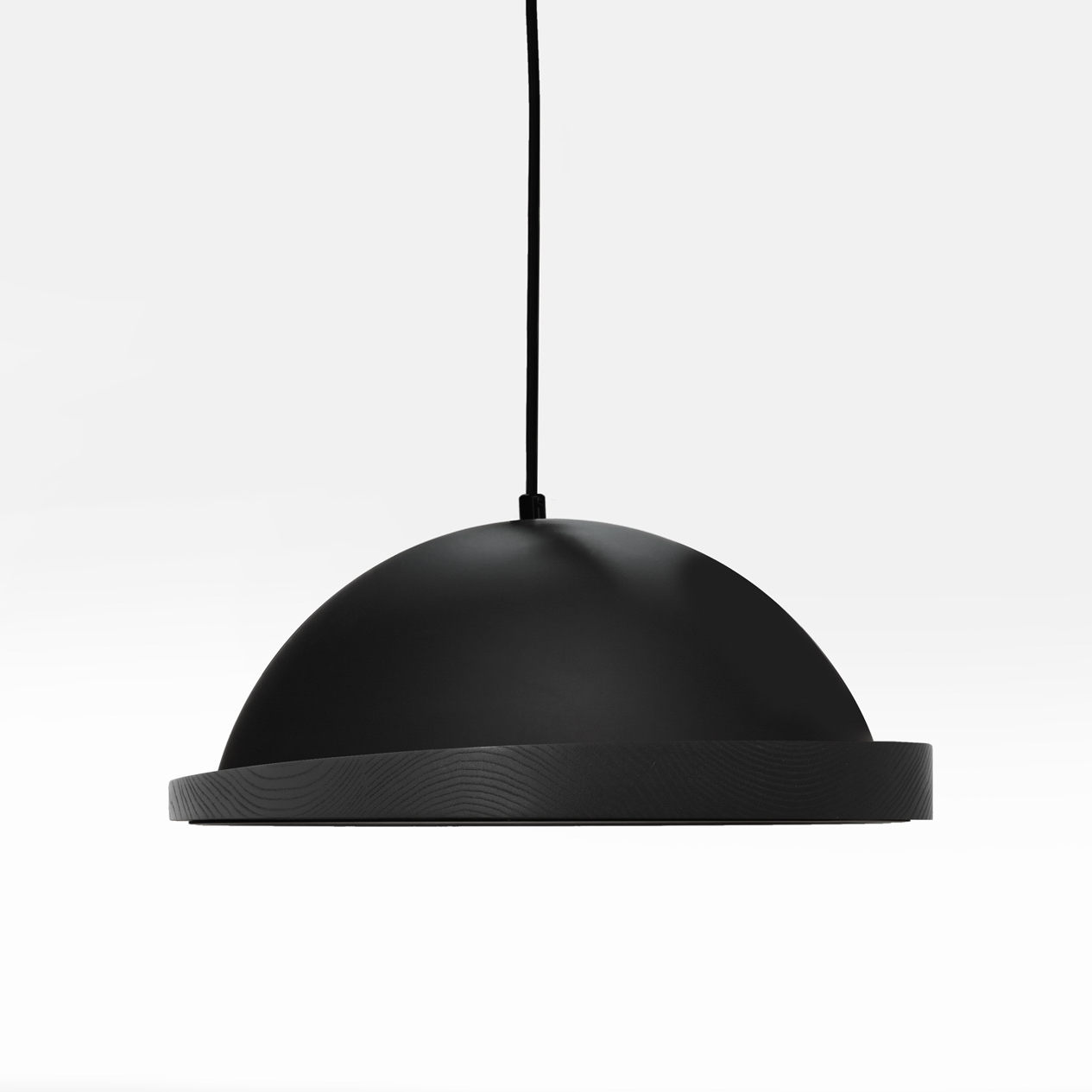 black little obelia pendant light with black stained oak rim