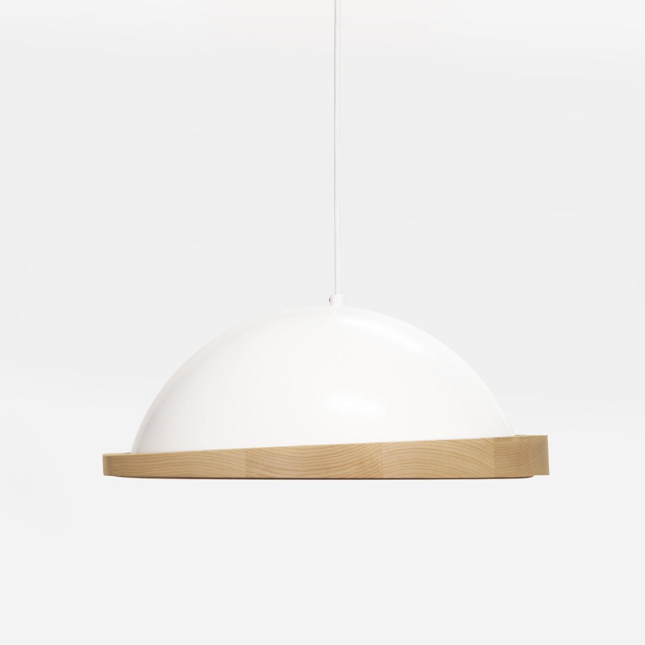 white little obelia pendant light with ash rim
