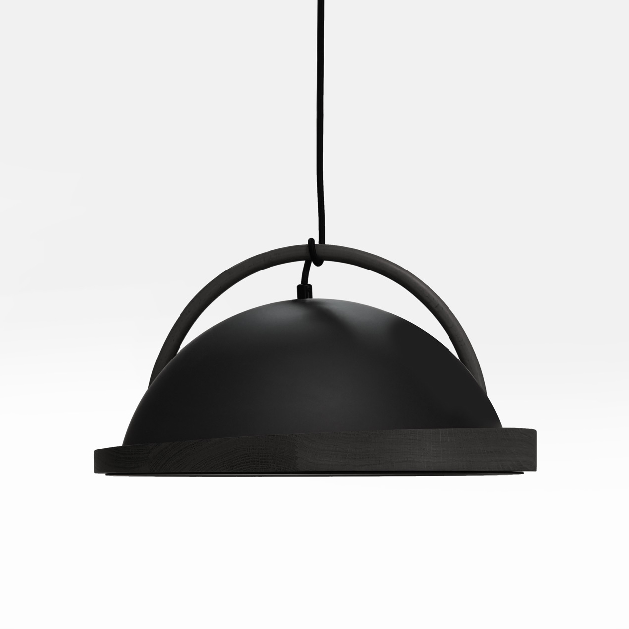 obelia pendant light with black stained oak rim