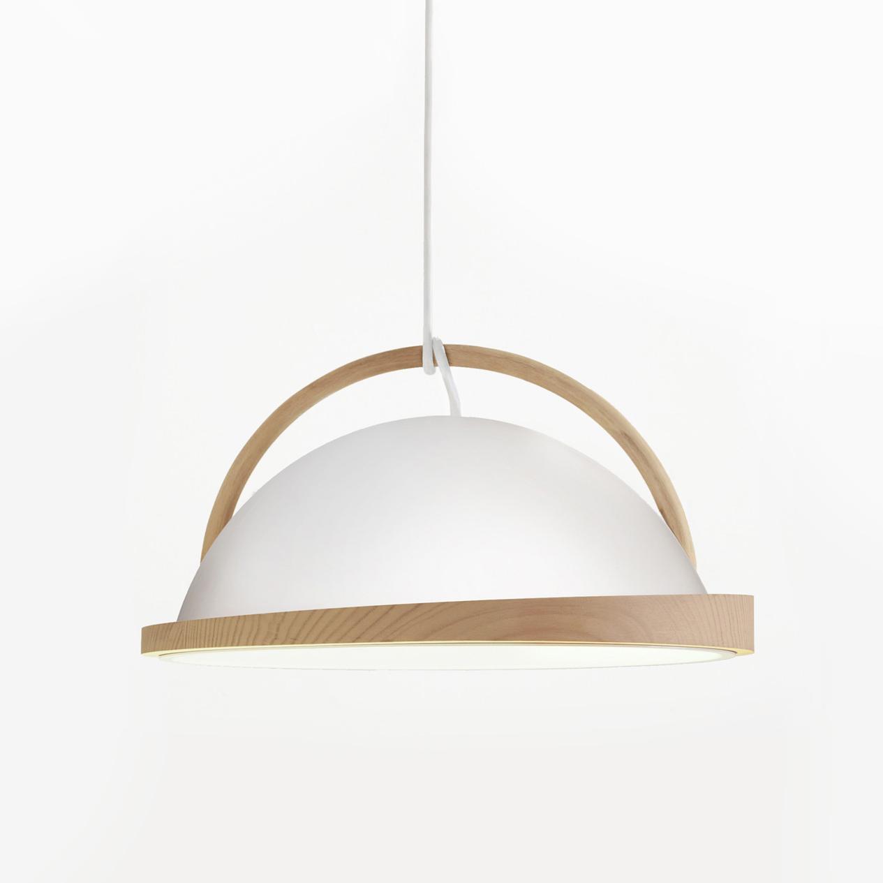 obelia pendant light with ash rim and beech arc