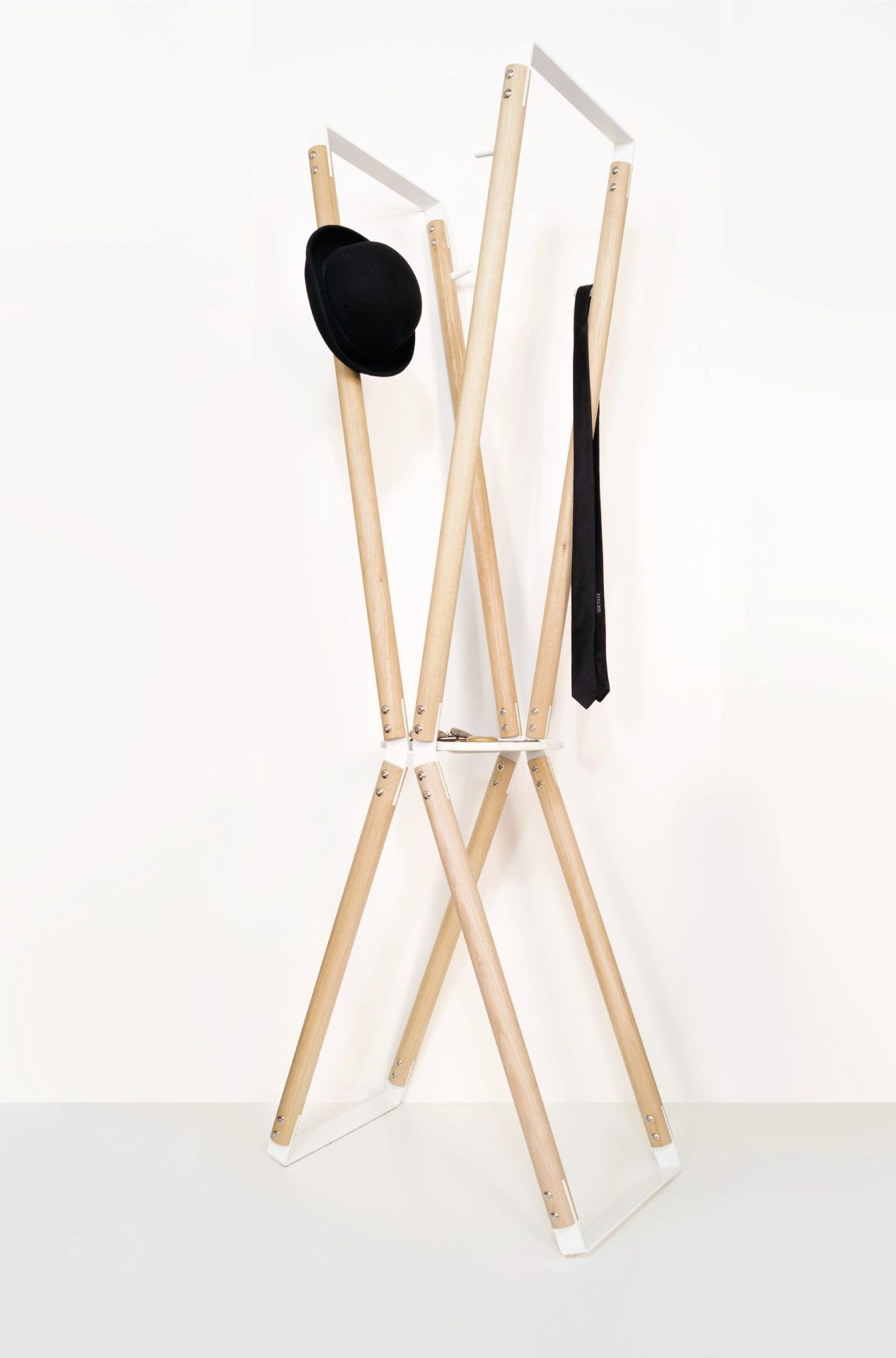 bombin coat stand with hat and tie