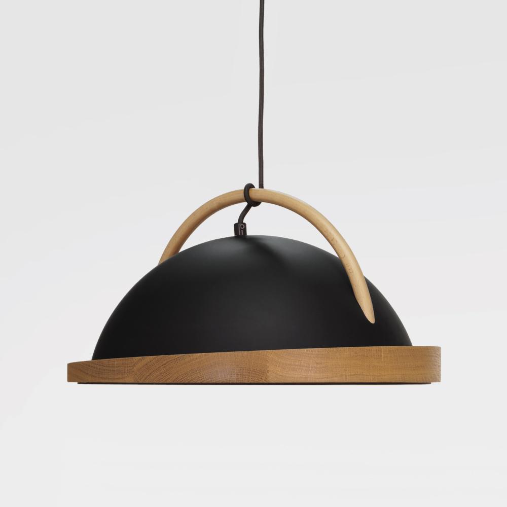 black obelia pendant light with oak rim and beeh arc