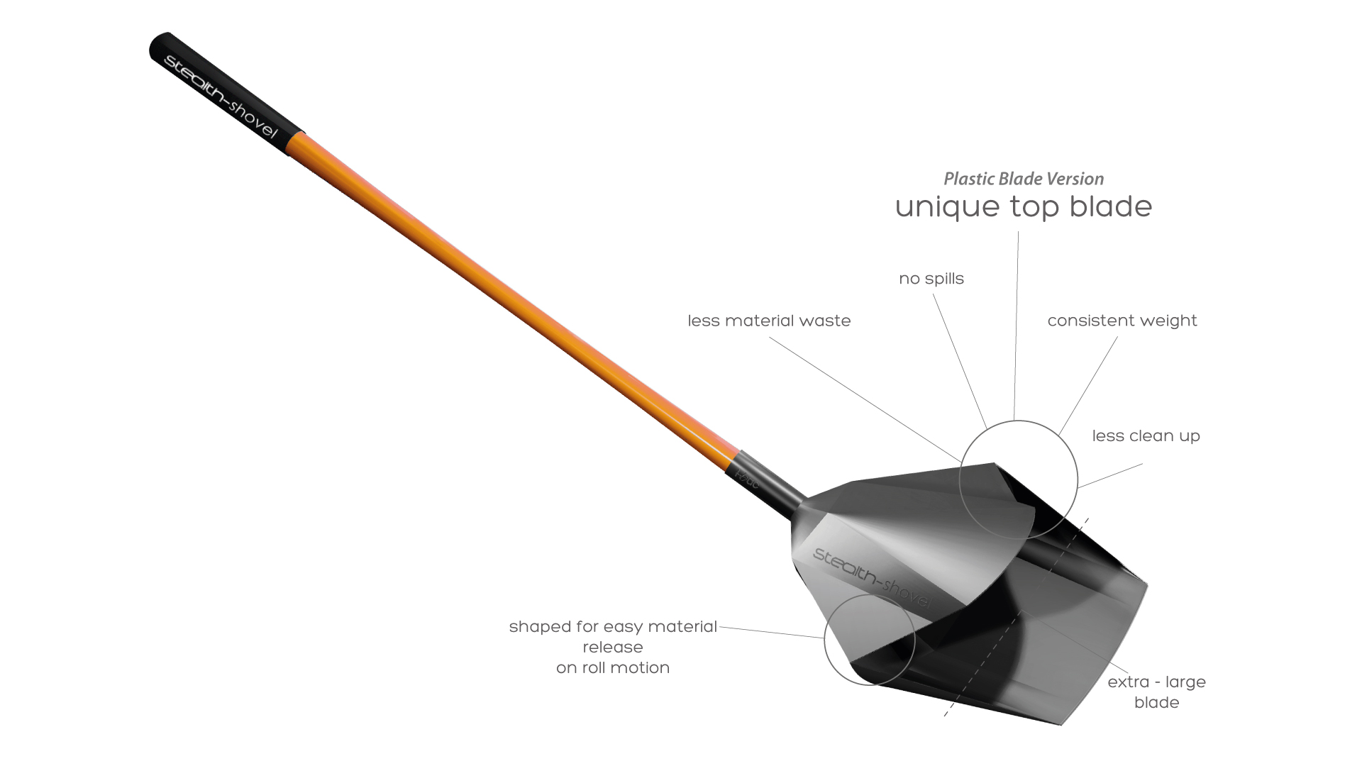 stealth shovel details unique top blade